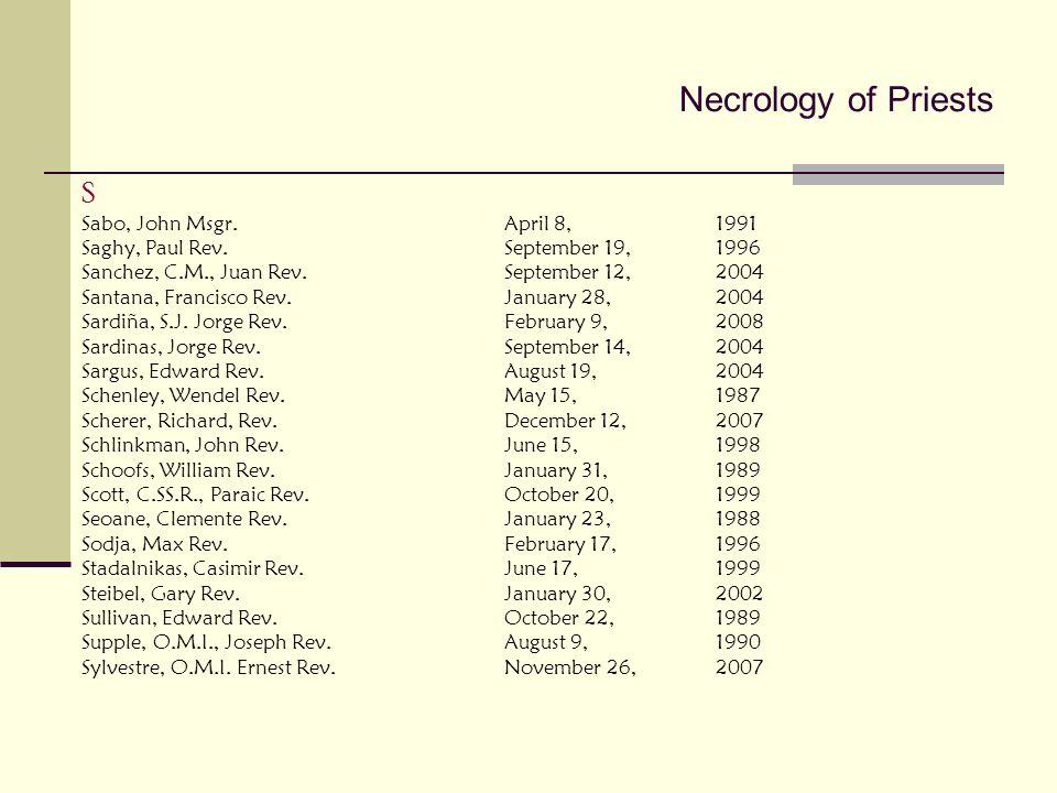 Necrology of Priests S Sabo, John Msgr. April 8, 1991