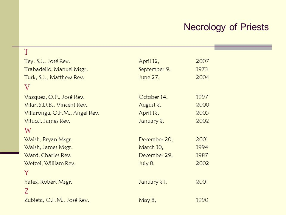 Necrology of Priests T V W Y Z Tey, S.J., José Rev. April 12, 2007
