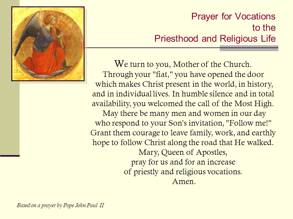 Prayer for Vocations to the Priesthood and Religious Life