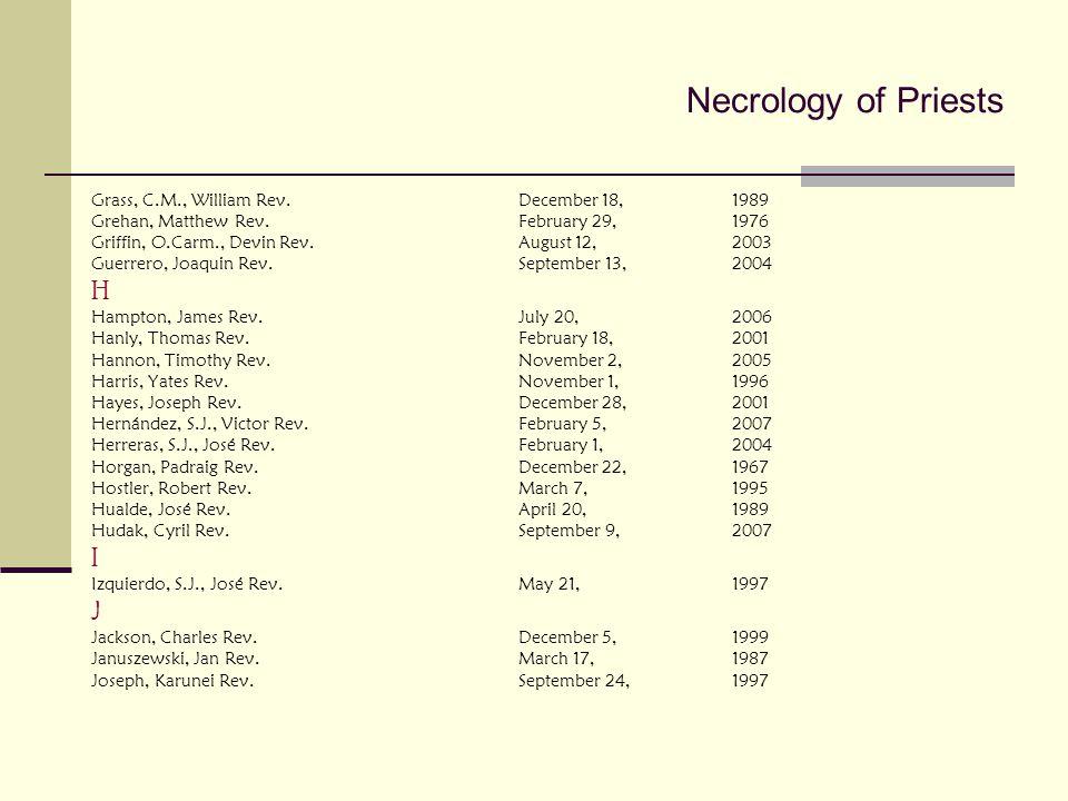 Necrology of Priests H I J Grass, C.M., William Rev. December 18, 1989