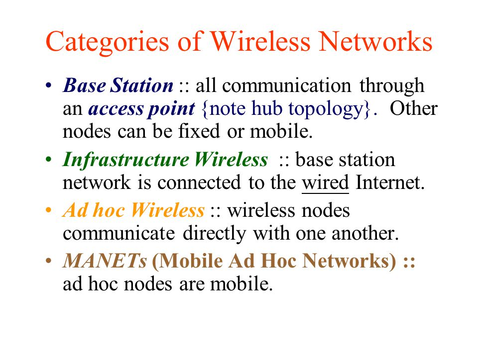 Categories of Wireless Networks