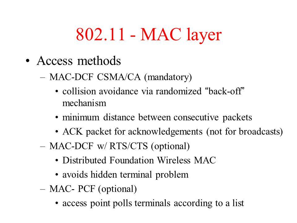 802.11 - MAC layer Access methods MAC-DCF CSMA/CA (mandatory)