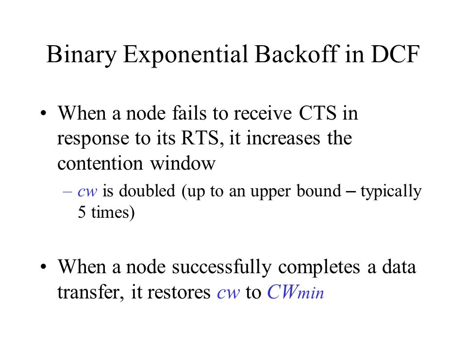 Binary Exponential Backoff in DCF