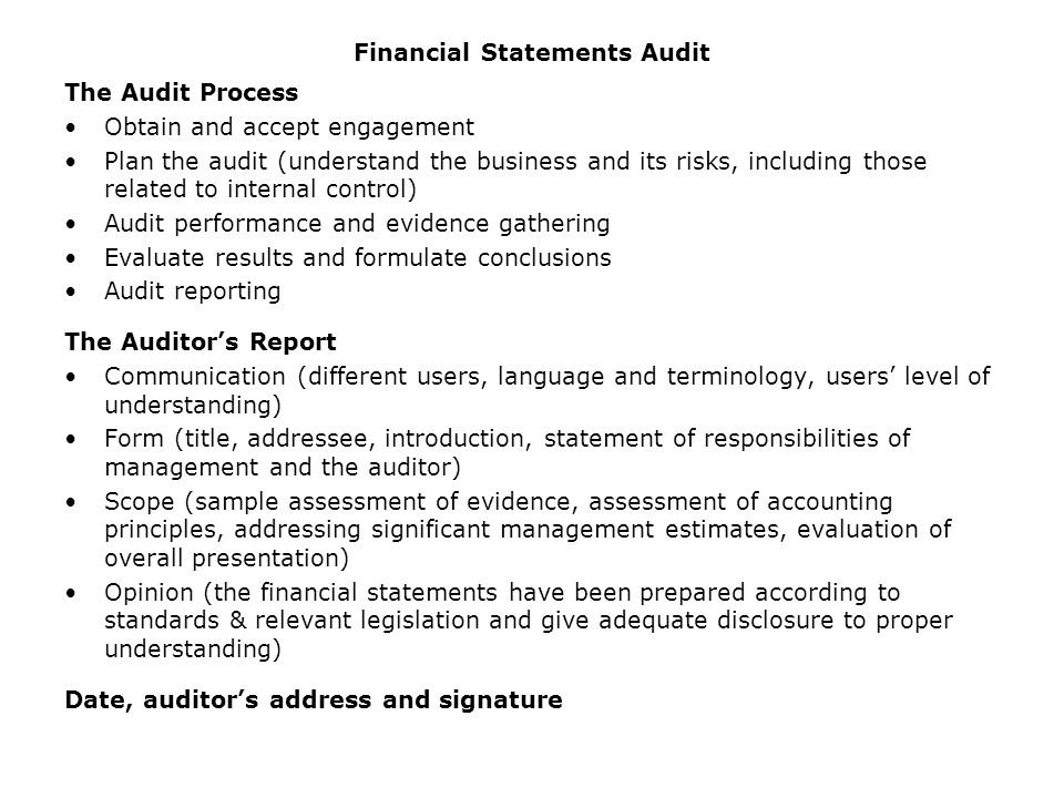 Financial Statements Audit  Ppt Video Online Download