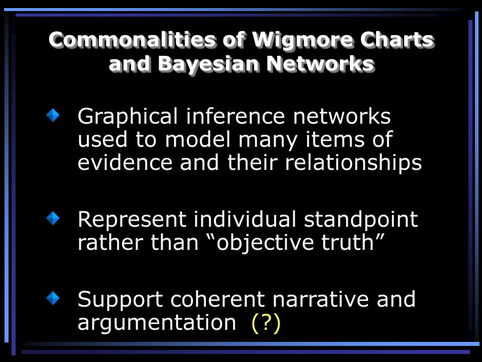 Commonalities of Wigmore Charts and Bayesian Networks