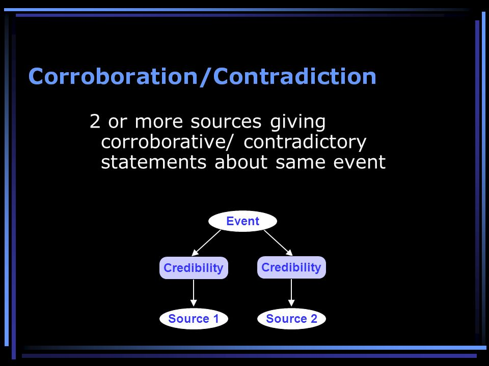 2 or more sources giving corroborative/ contradictory statements about same event