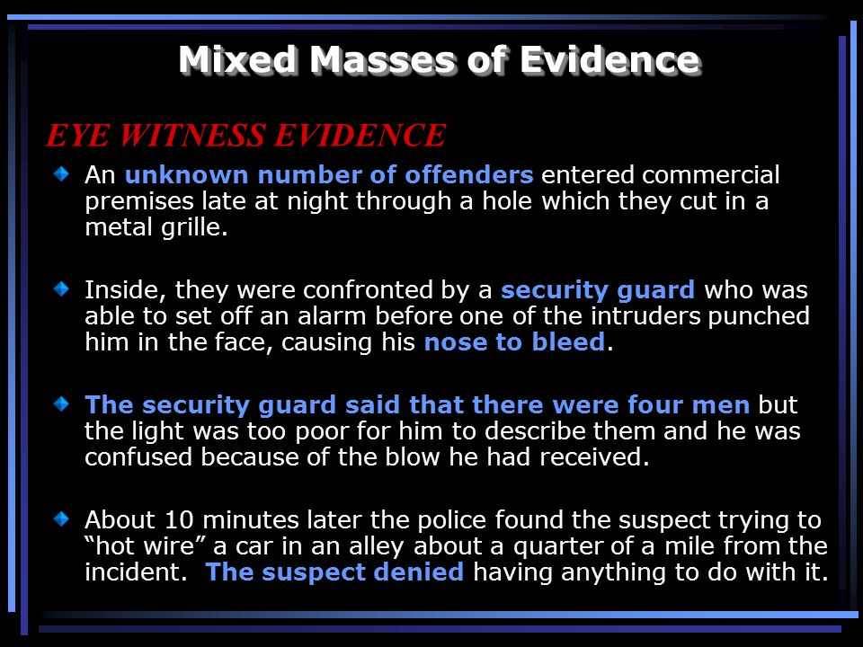 Mixed Masses of Evidence