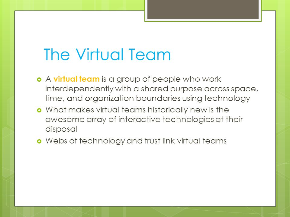 The Virtual Team