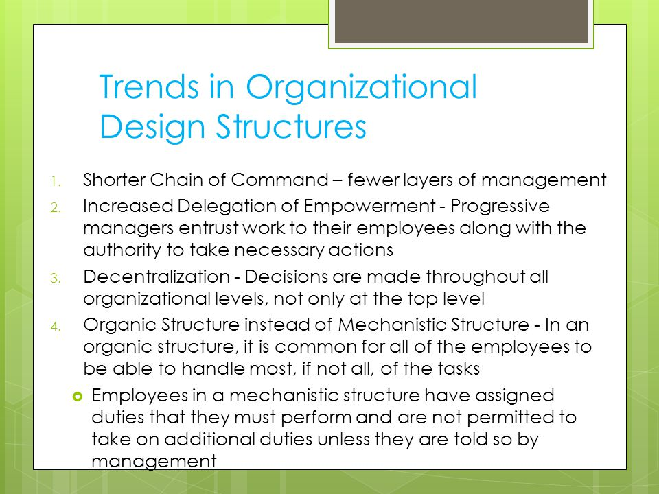 Trends in Organizational Design Structures