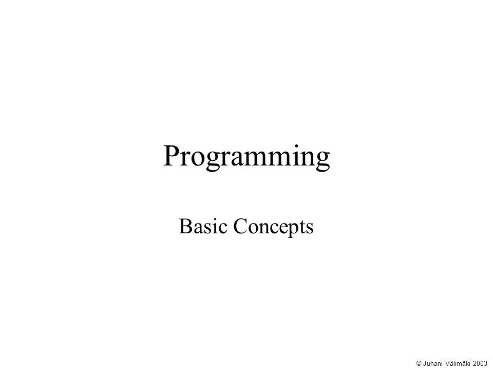 Programming Basic Concepts © Juhani Välimäki 2003
