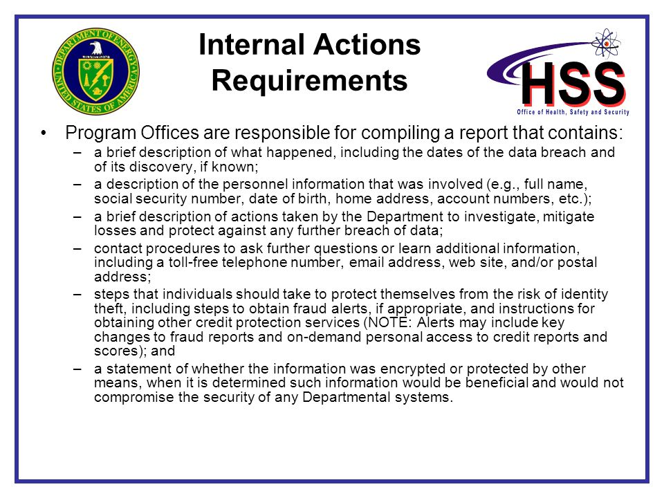 Internal Actions Requirements
