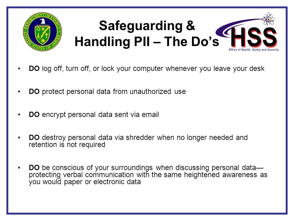 Safeguarding & Handling PII – The Do's