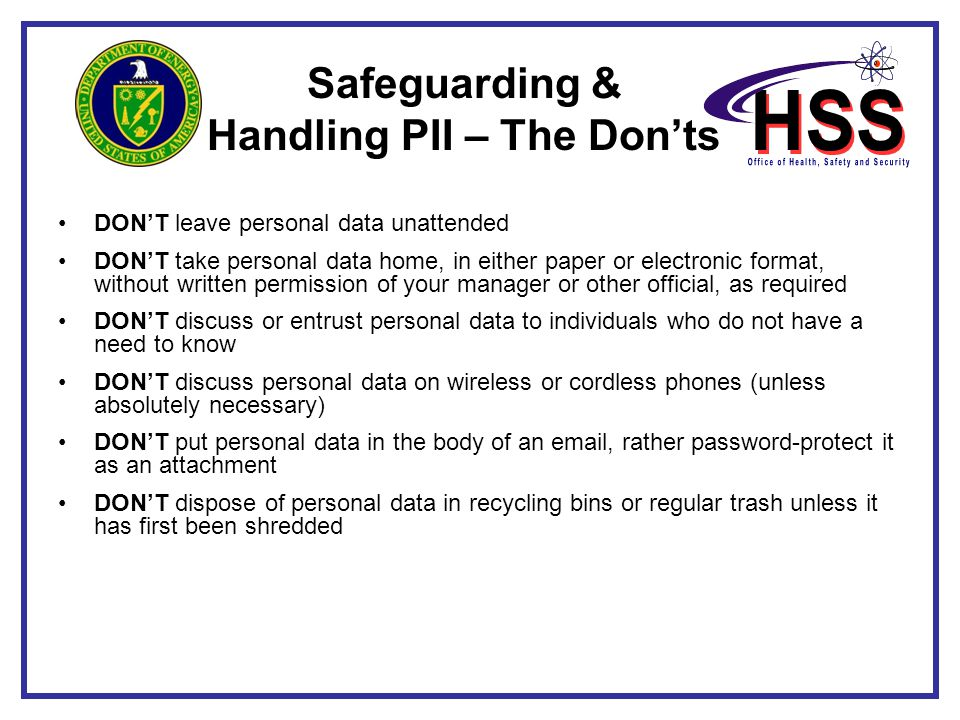 Safeguarding & Handling PII – The Don'ts