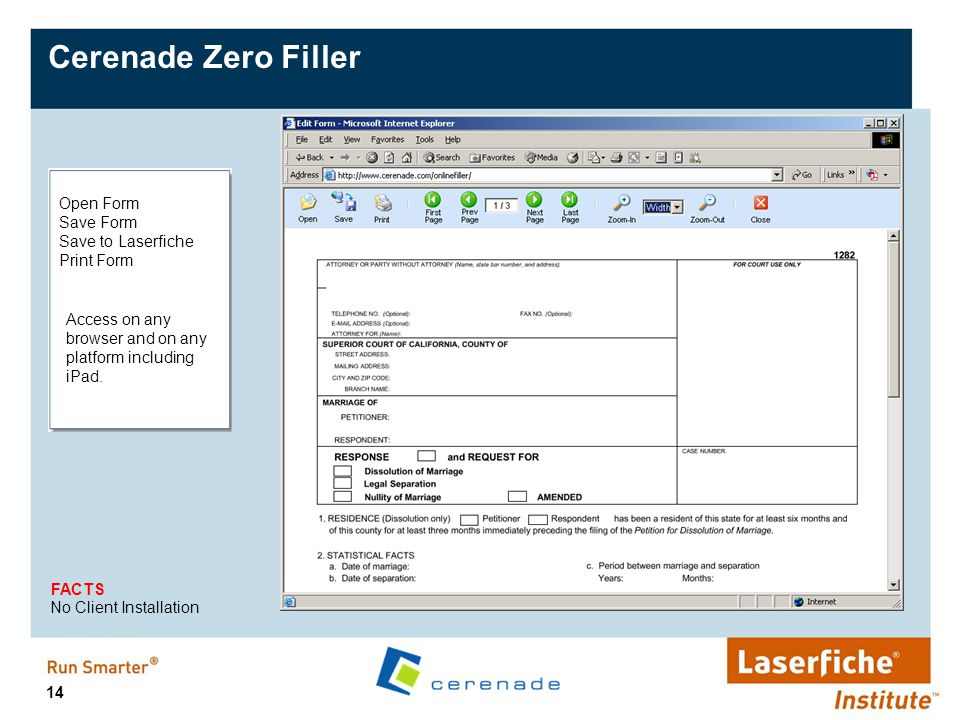 Cerenade Zero Filler Open Form Save Form Save to Laserfiche Print Form