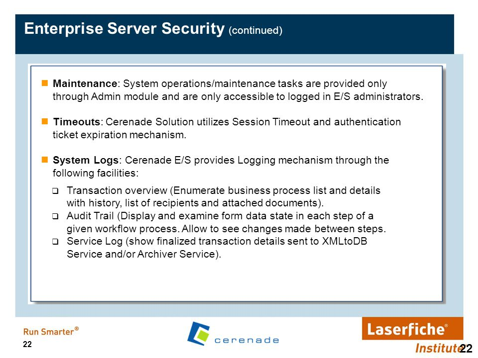 Enterprise Server Security (continued)