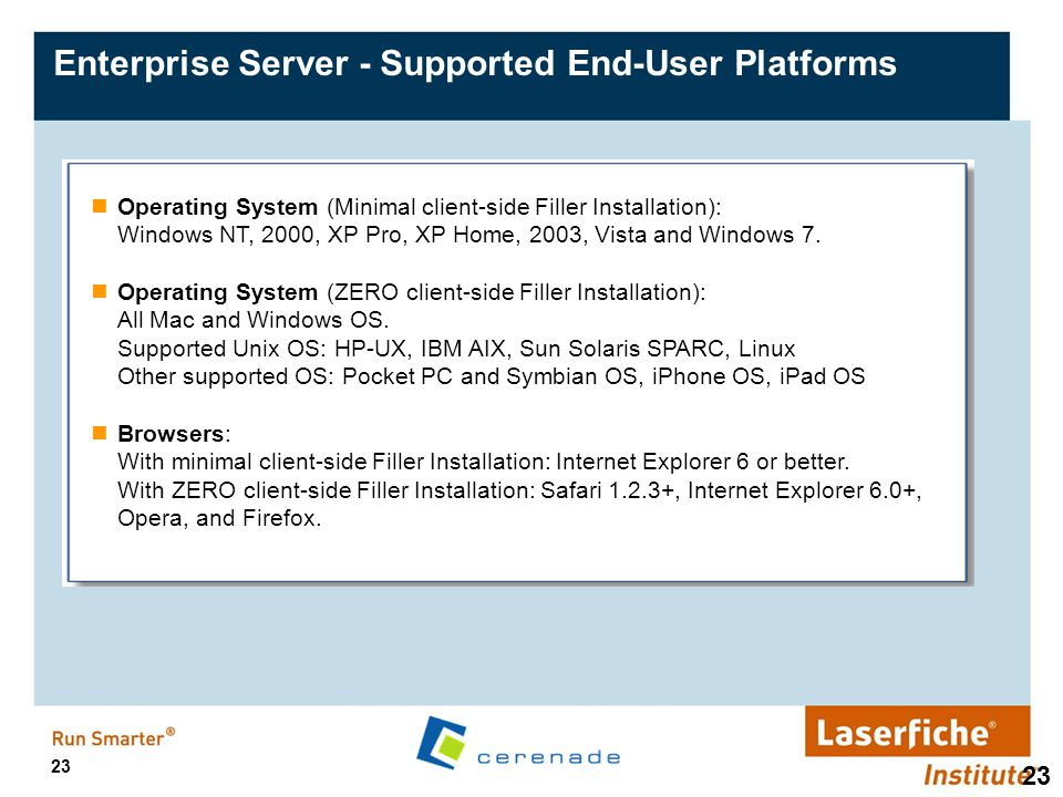 Enterprise Server - Supported End-User Platforms