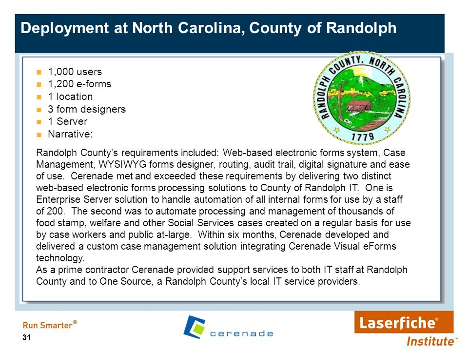 Deployment at North Carolina, County of Randolph