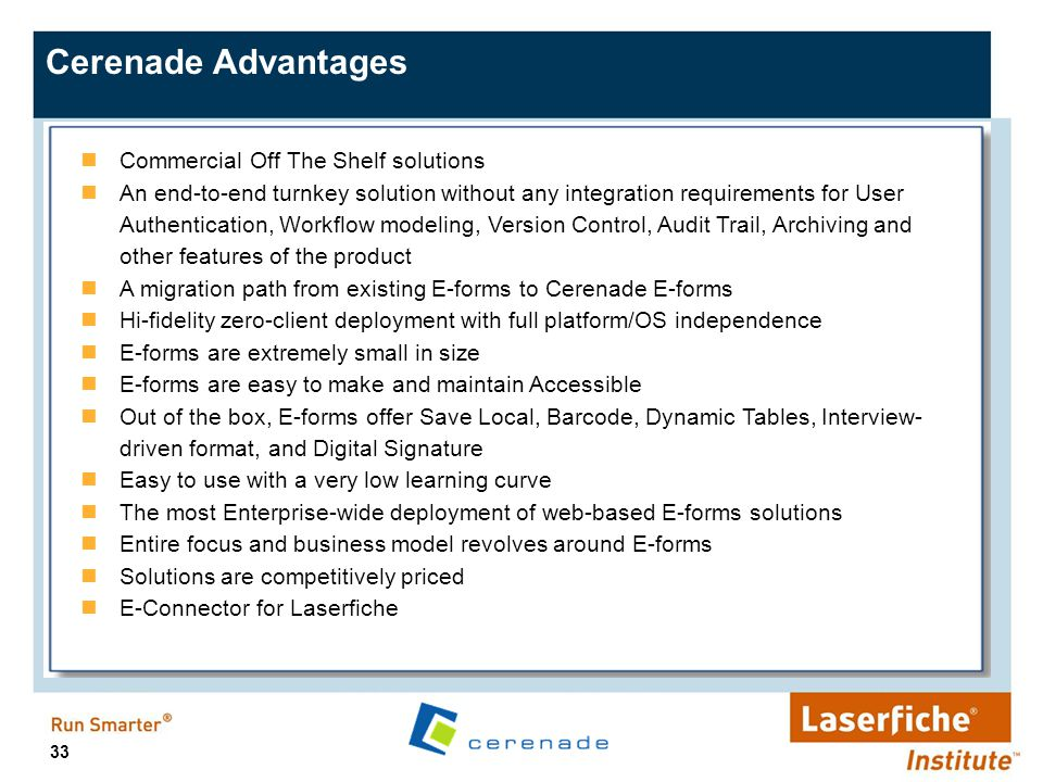 Cerenade Advantages Commercial Off The Shelf solutions