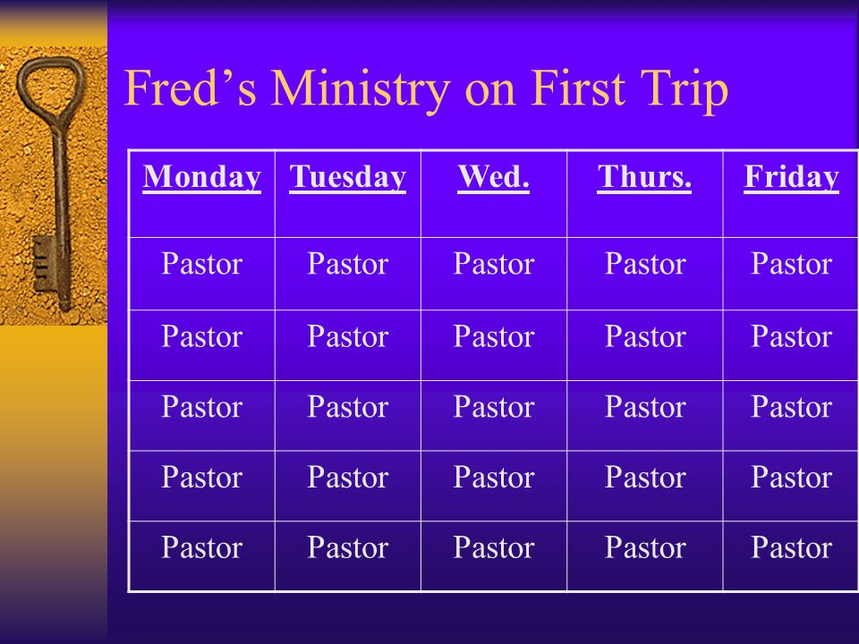 Fred's Ministry on First Trip