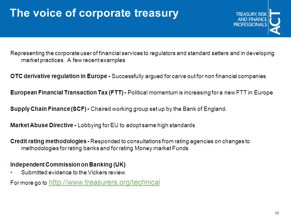 The voice of corporate treasury