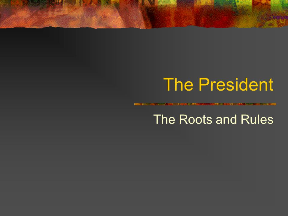 The President The Roots and Rules