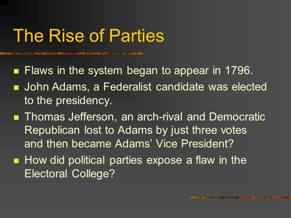 The Rise of Parties Flaws in the system began to appear in 1796.