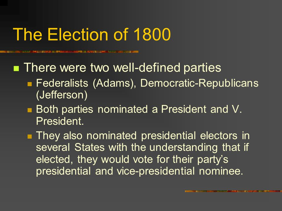 The Election of 1800 There were two well-defined parties