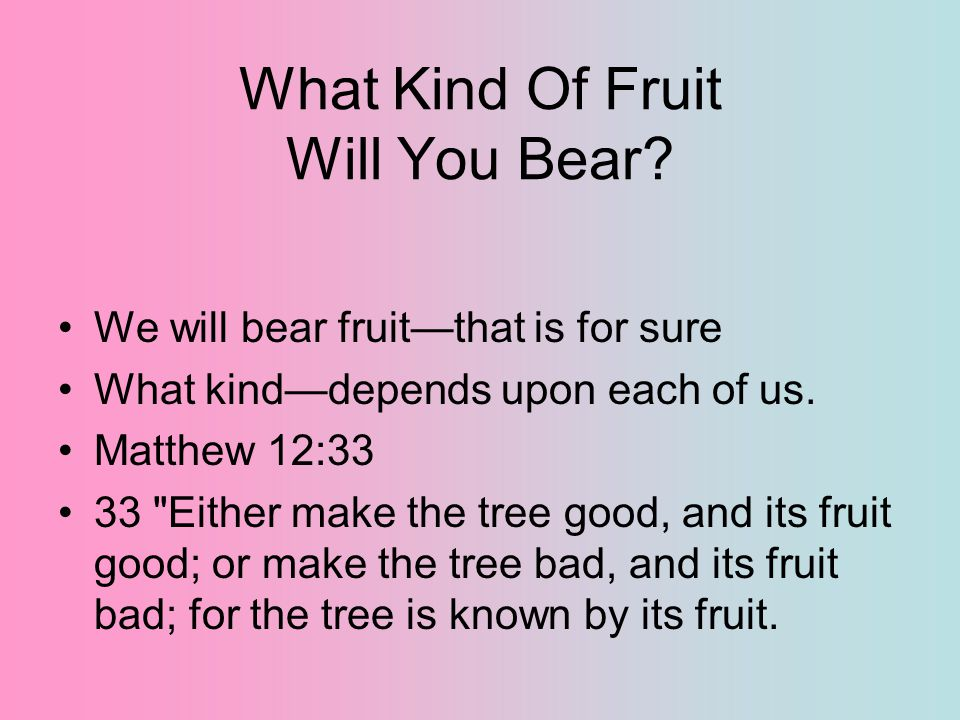 What Kind Of Fruit Will You Bear