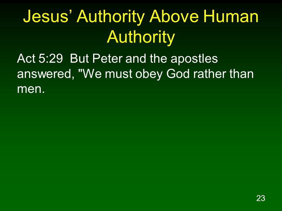 Jesus' Authority Above Human Authority