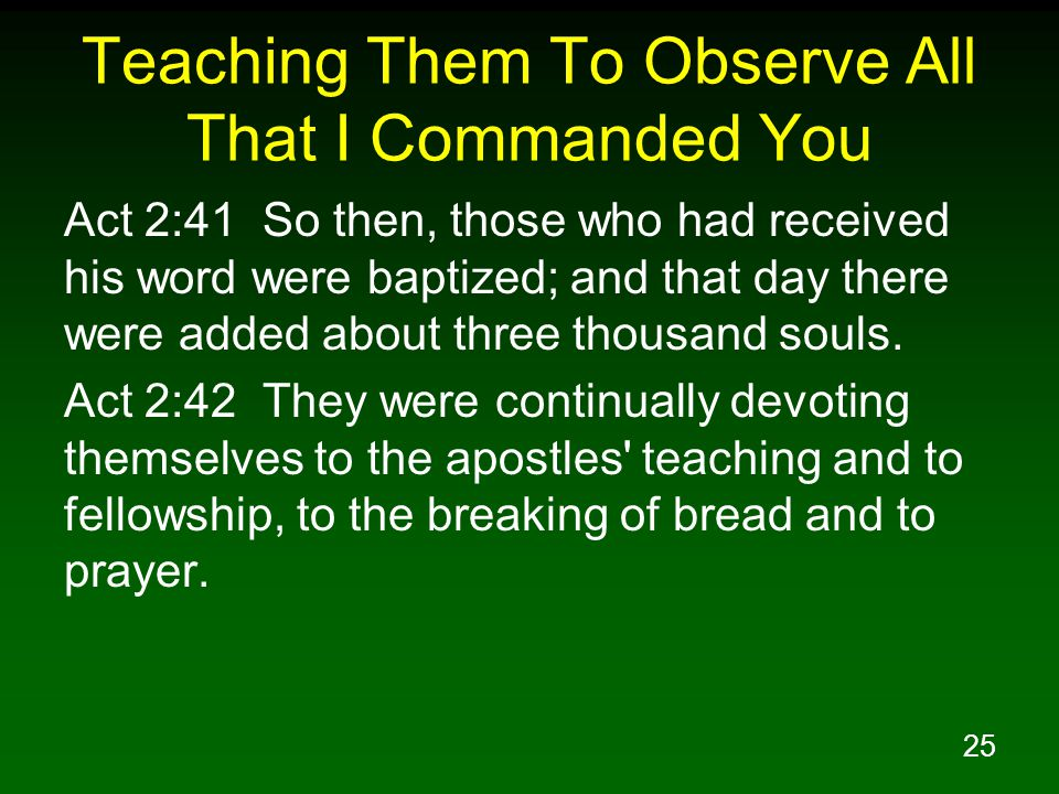 Teaching Them To Observe All That I Commanded You
