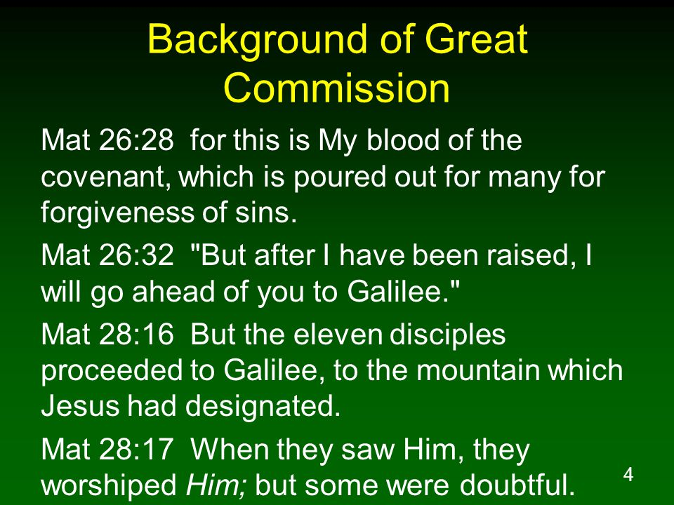 Background of Great Commission