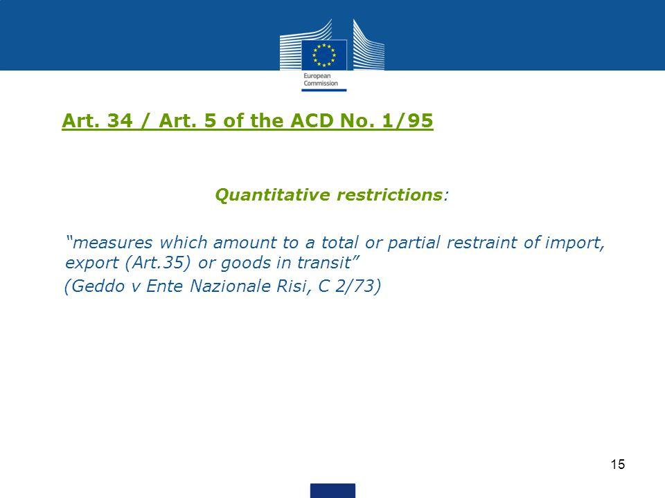 Quantitative restrictions: