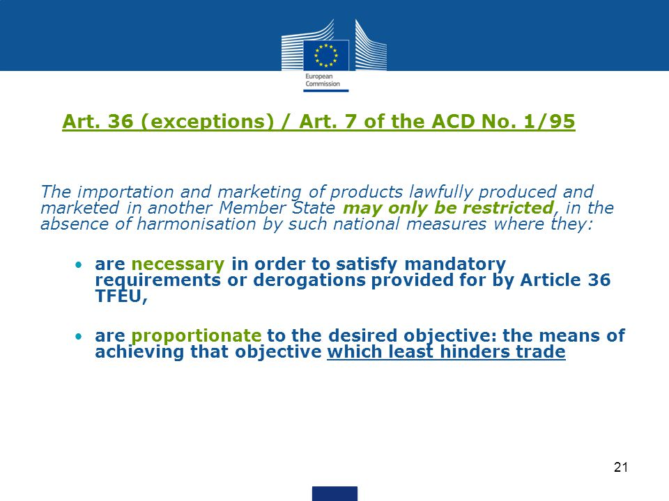 Art. 36 (exceptions) / Art. 7 of the ACD No. 1/95