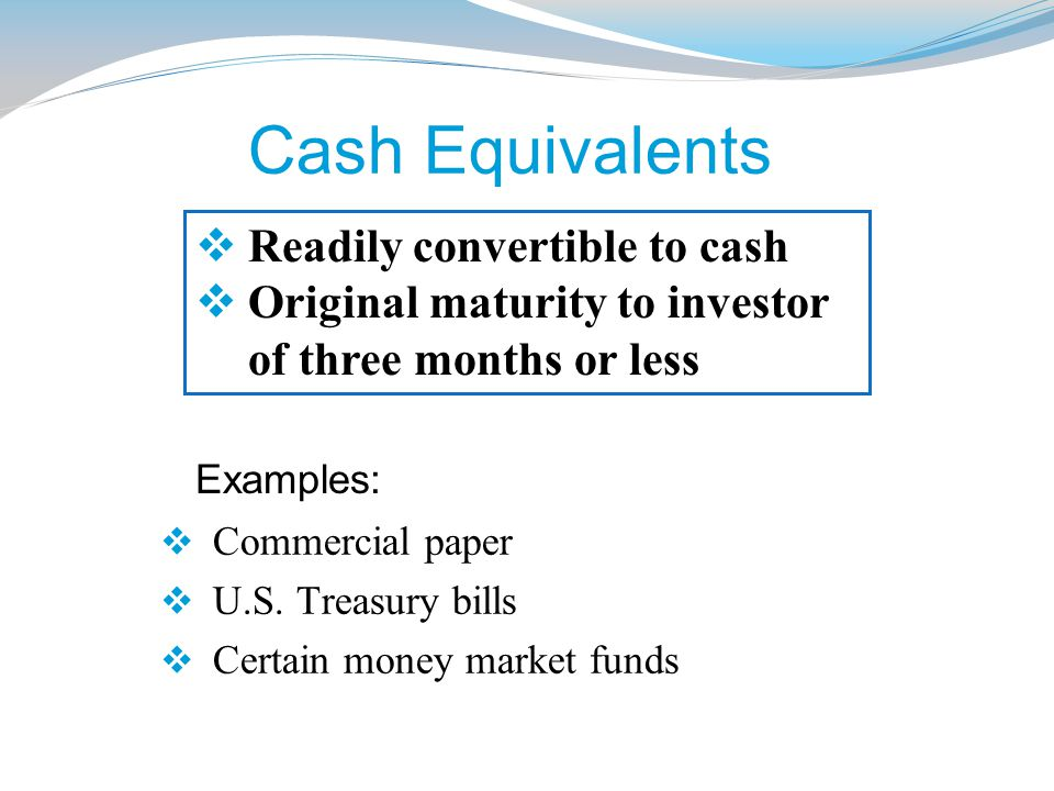 Cash Equivalents Readily convertible to cash