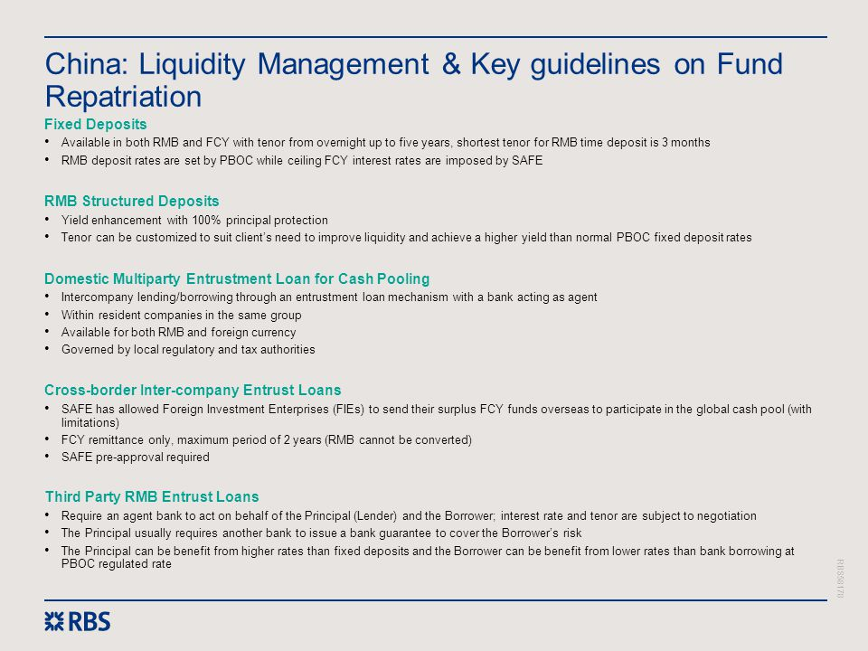 China: Liquidity Management & Key guidelines on Fund Repatriation