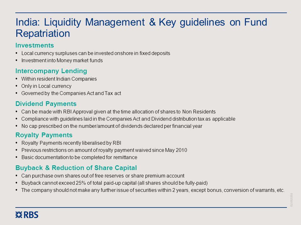 India: Liquidity Management & Key guidelines on Fund Repatriation
