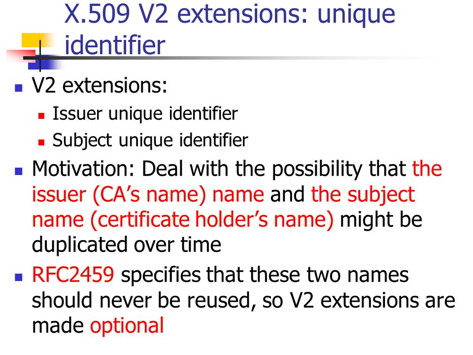 X.509 V2 extensions: unique identifier
