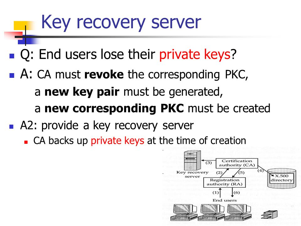 Key recovery server Q: End users lose their private keys