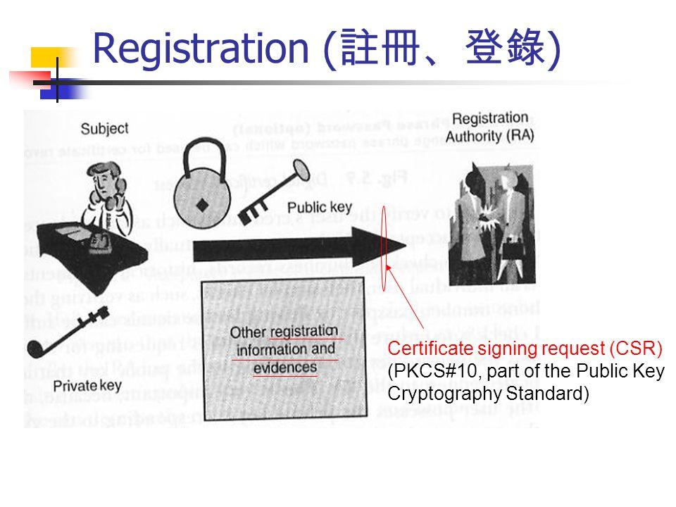Registration (註冊、登錄) Certificate signing request (CSR)