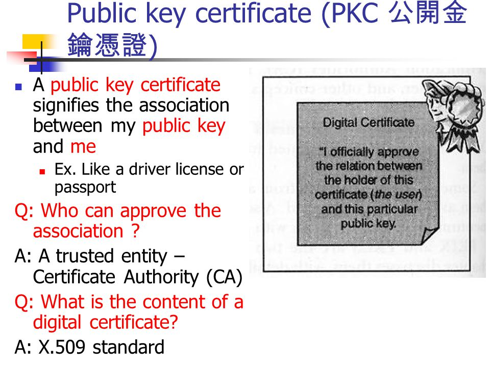 Public key certificate (PKC 公開金鑰憑證)