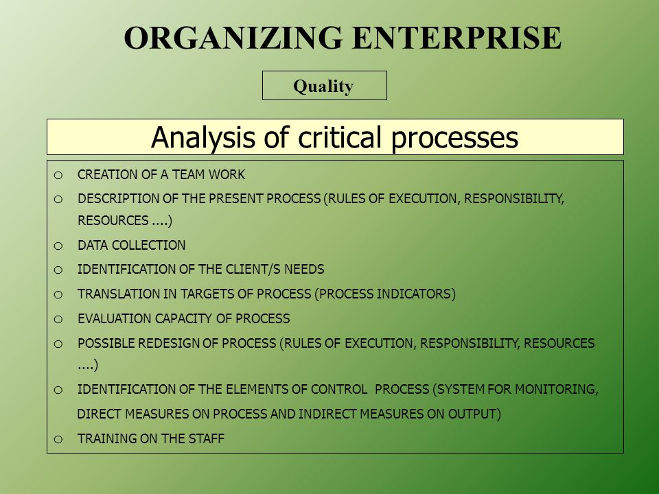 Analysis of critical processes