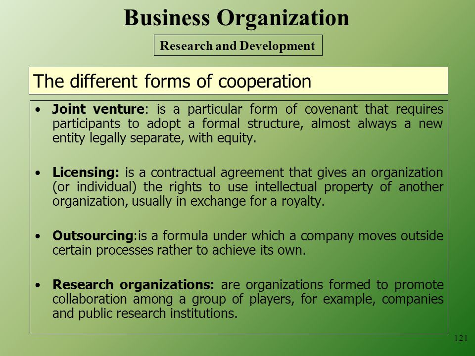 The different forms of cooperation