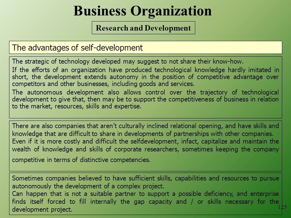 The advantages of self-development