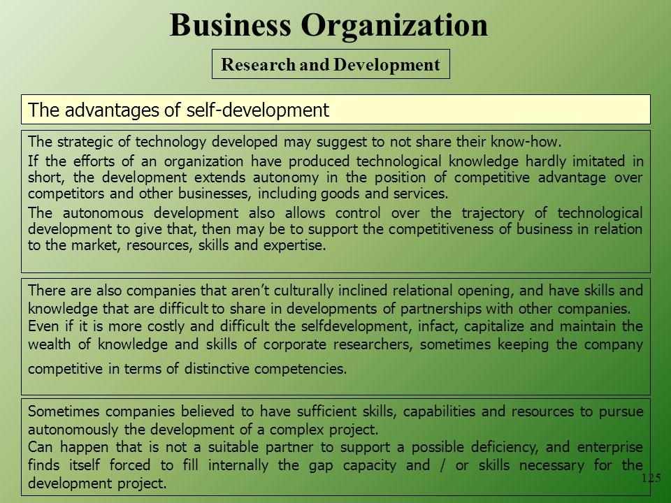 The advantages of self-development