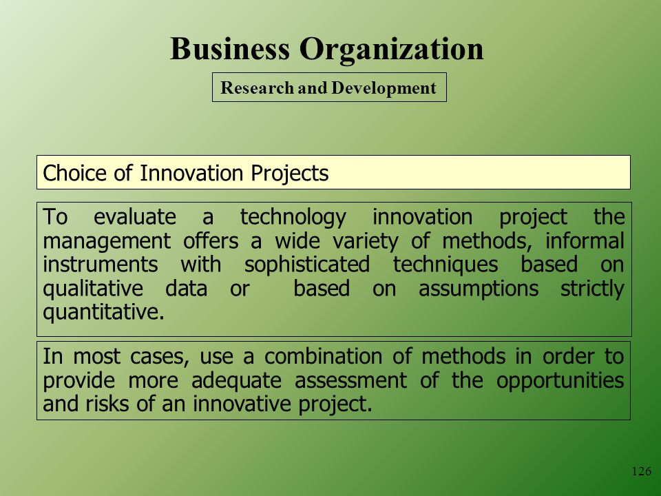 Choice of Innovation Projects