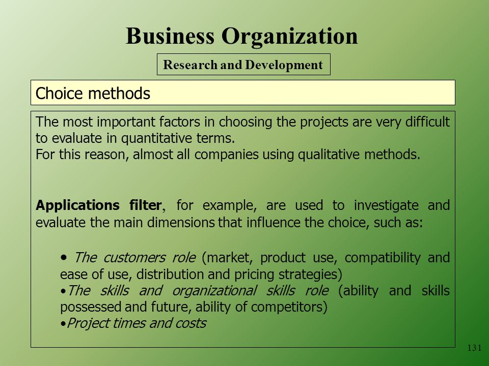 Business Organization Research and Development