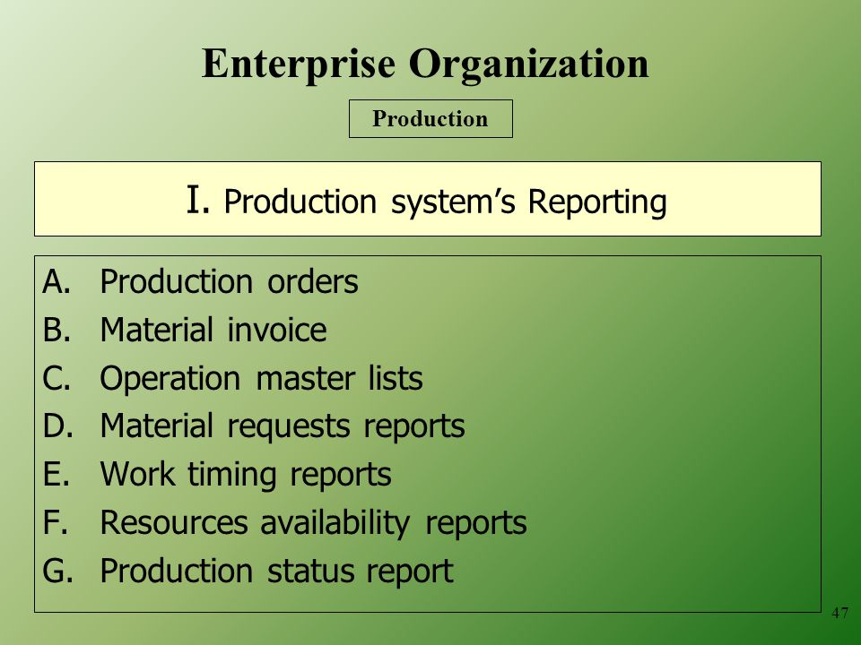 I. Production system's Reporting