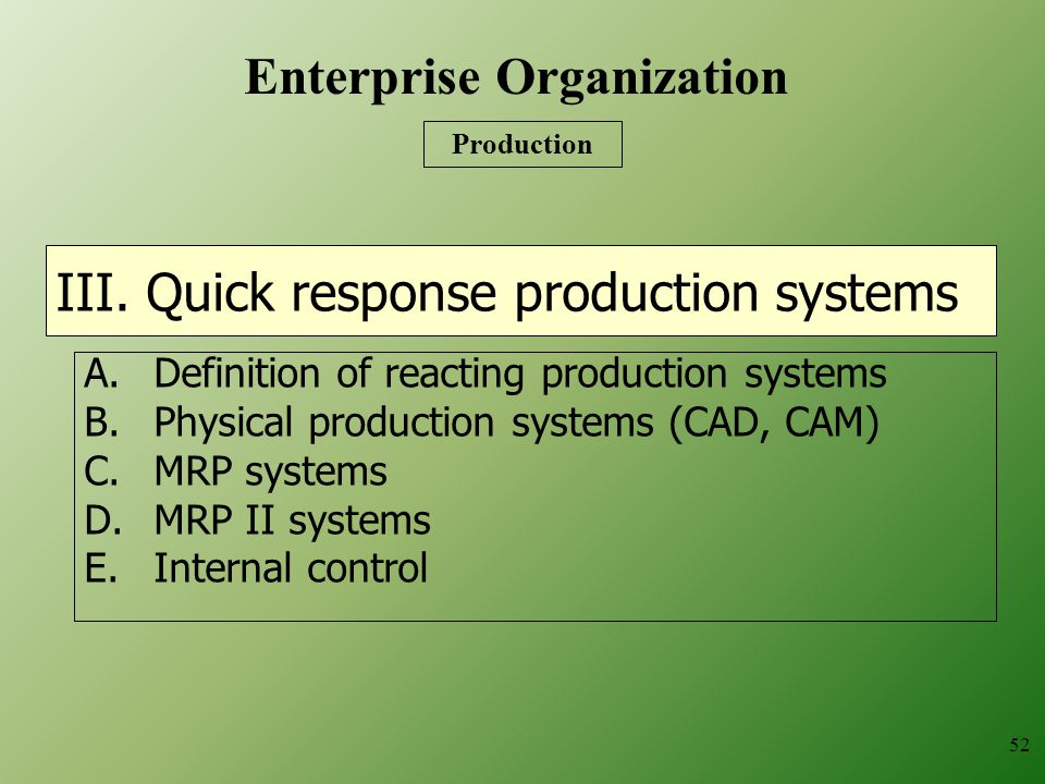 III. Quick response production systems