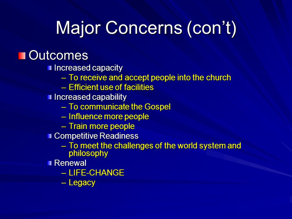 Major Concerns (con't)
