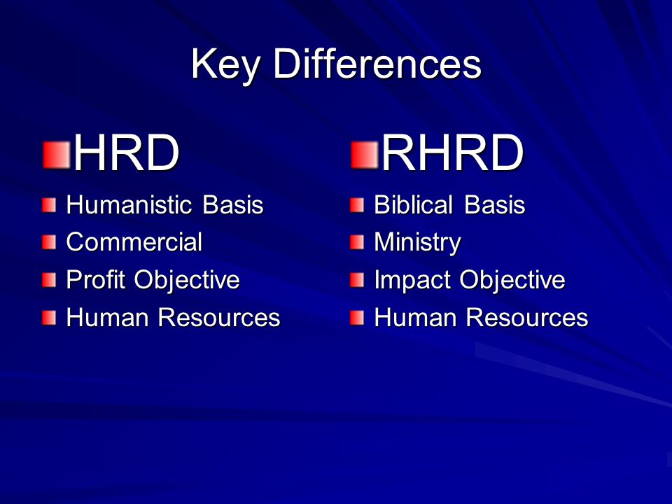 HRD RHRD Key Differences Humanistic Basis Commercial Profit Objective